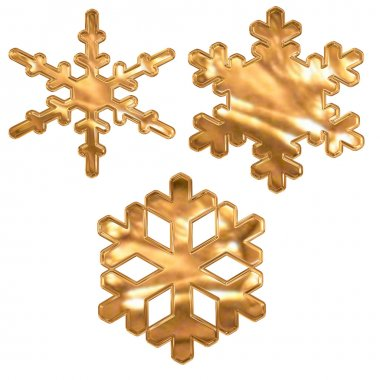 Set of gold metal effect snow flakes