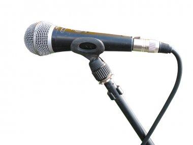 Old metallic microphone isolated