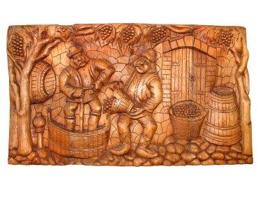 Ancient vintage wooden Bas-relief