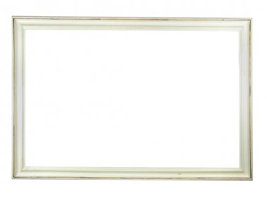 Old antique white wooden picture frame
