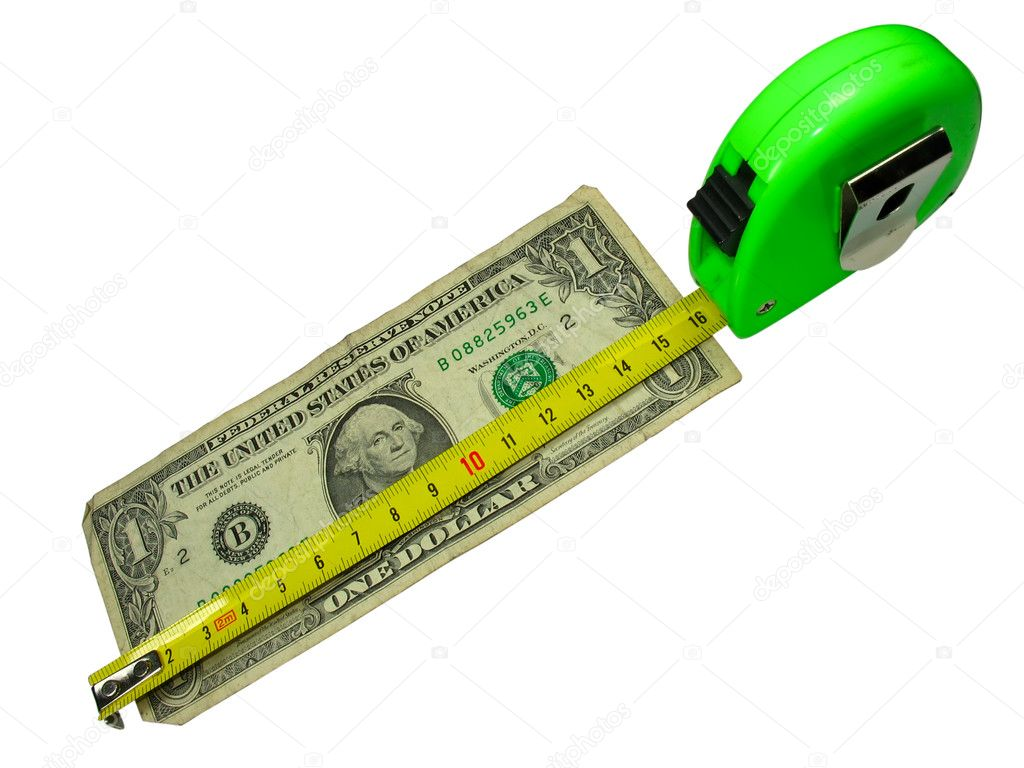 Crisis Measuring Tape Over Us Dollar Currency Isolated On White Photo By