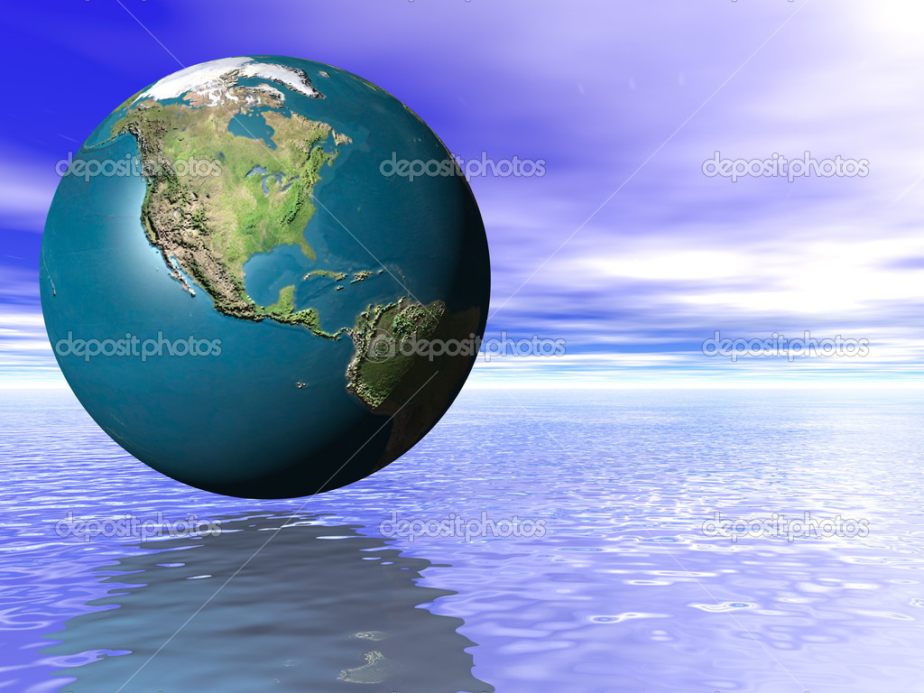 3d Concept Earth Globe ocean water