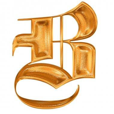 Golden pattern gothic letter B