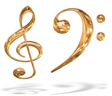 3D gold pattern musical key symbols
