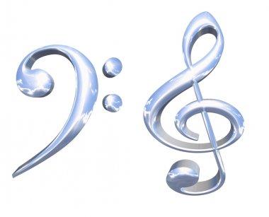 3D silver or chrome musical key symbols