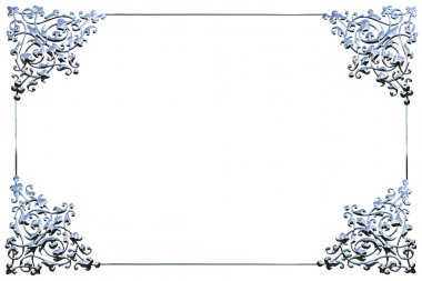 Abstract chrome metal floral frame