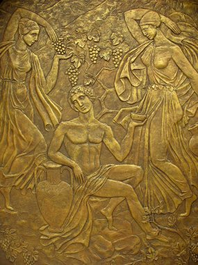 Copper bas-relief on the basis
