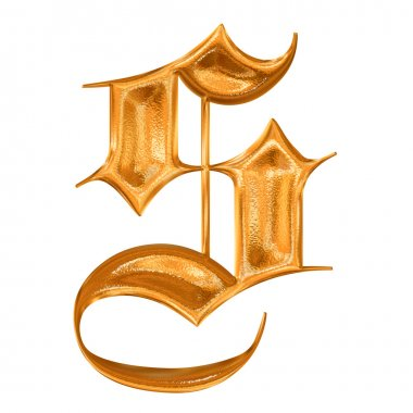 Golden pattern gothic letter S