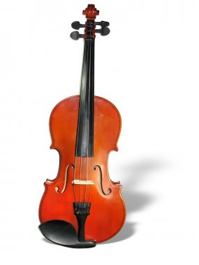 Classic violin with shadow isolated