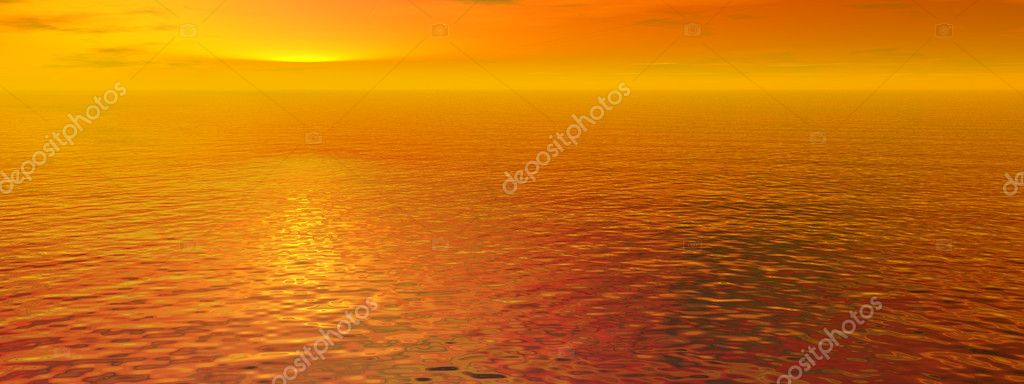 Red sunset sky and ocean wave water