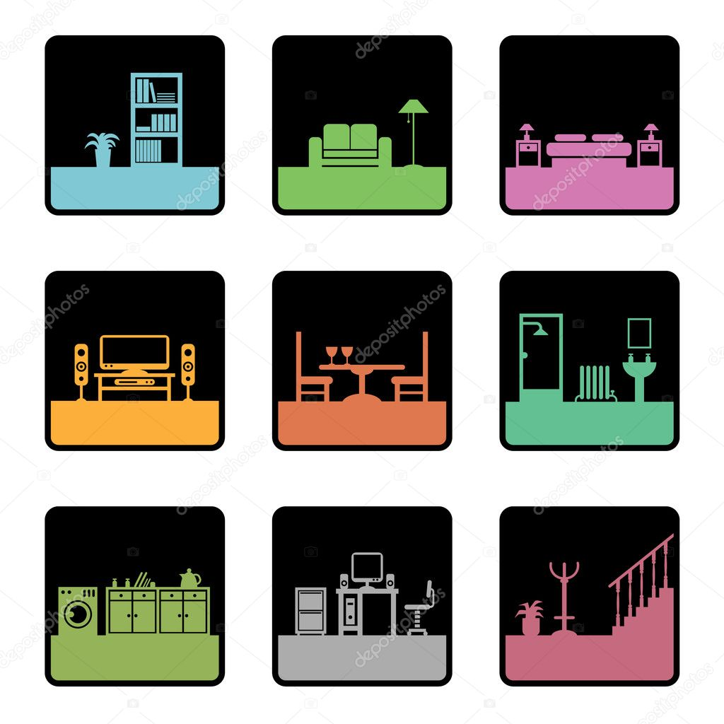 Square icons with home interior designs, easily editable for color change stock vector