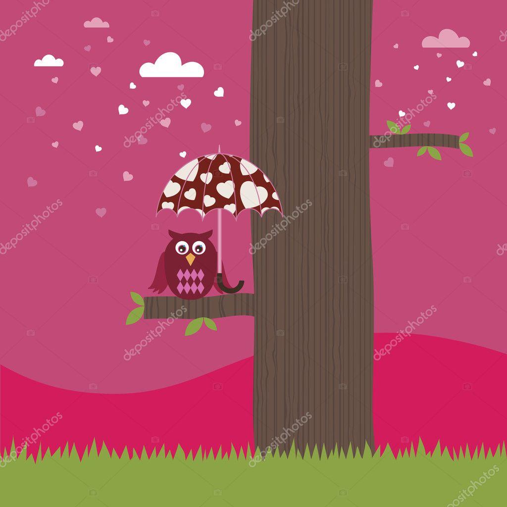 Owl with love umbrella