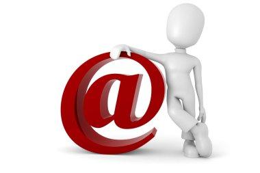 3d man standing near the e-mail symbol