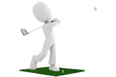 3d man golfer