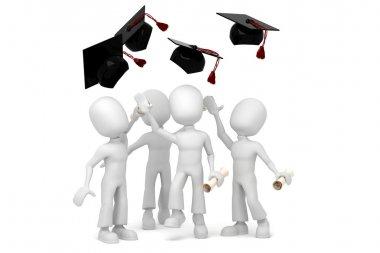 3d men students graduating