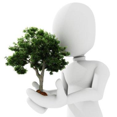 3d man holding a tree