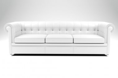 3d white leather couch on white backgrou