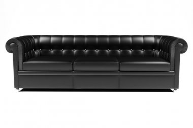 3d black leather couch on white backgrou