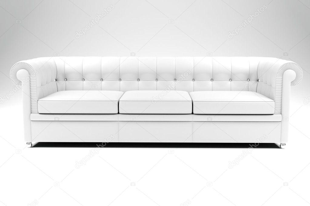 3d White Leather Couch On White Backgrou U2014 Photo By Digitalgenetics