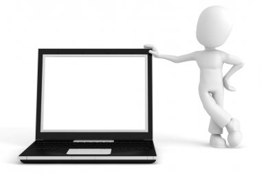 3d man and laptop