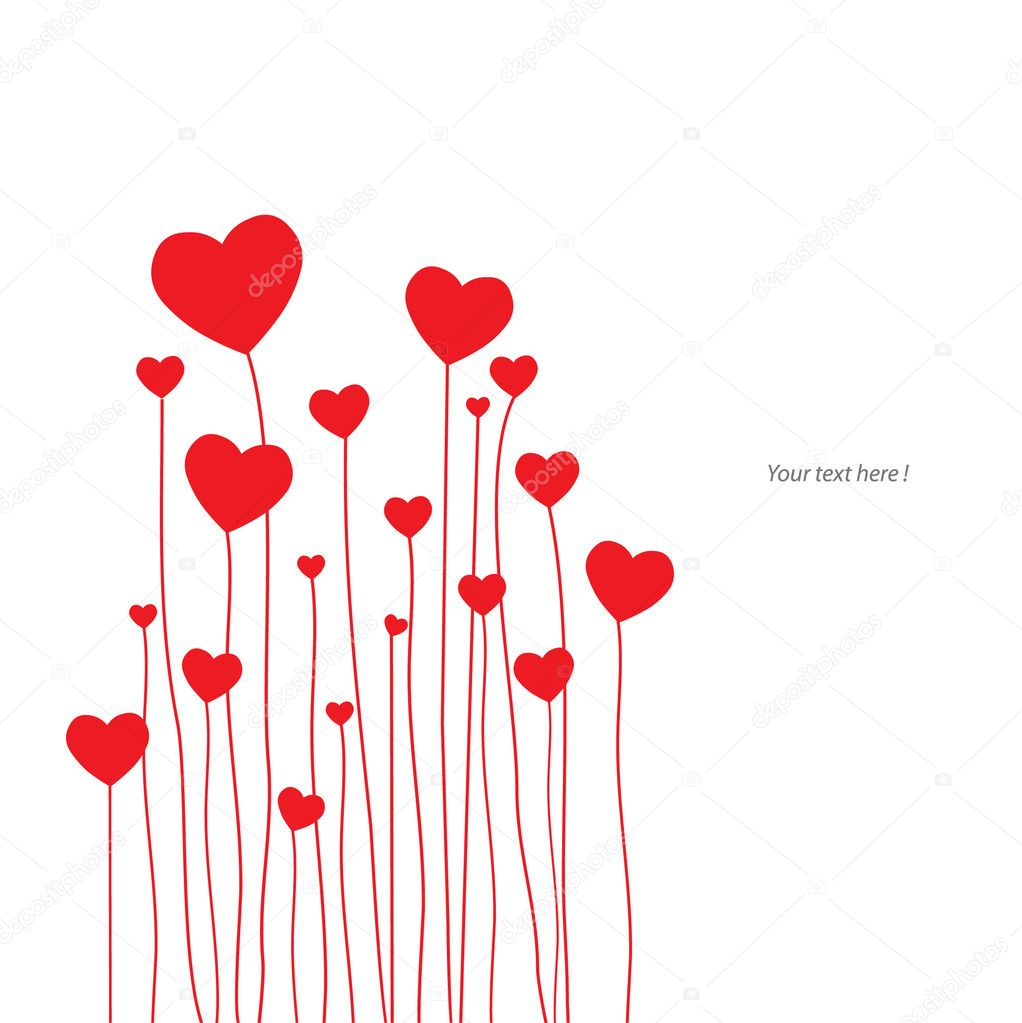 Love card with red hearts stock vector