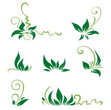 Green leaves and swirls for decor. Vector illustration clip art vector