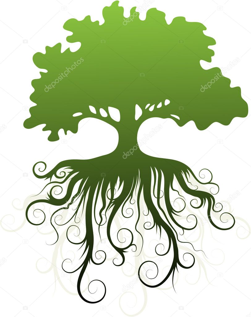 Silhouette of a tree with abstract roots. stock vector
