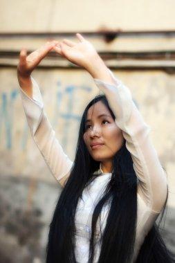 Beautiful korean woman dancing