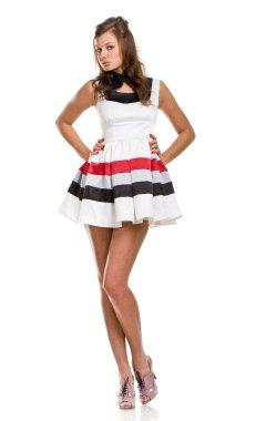 Sexy girl in white short dress