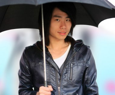 Autumn Asian man with umbrella