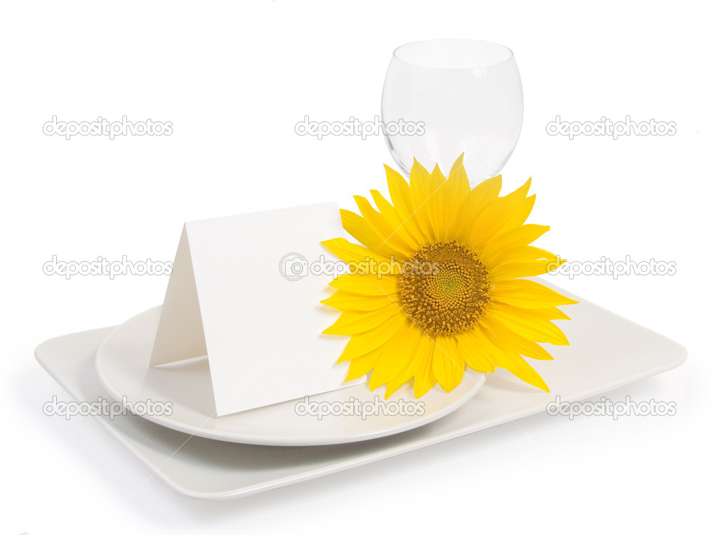 Table setting with sunflower