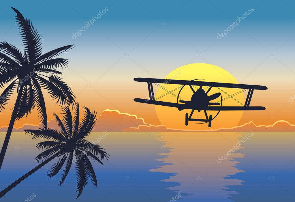 Sunset seascape with plane