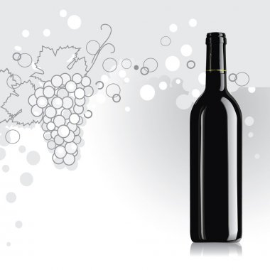 Realistic vector wine bottle with grape