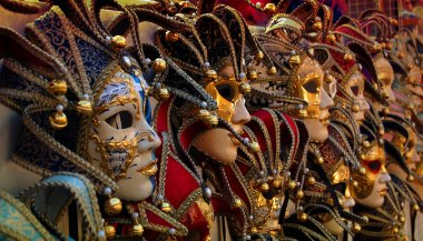 Row of venetian carneval masks