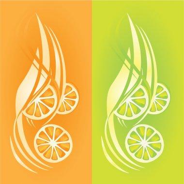 Fresh fuits, orange and lemon