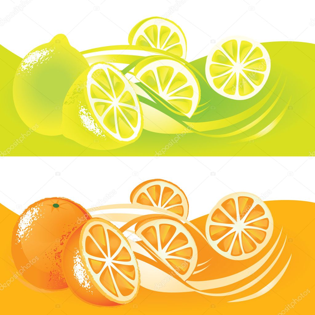 Fresh fuits, orange and lemon