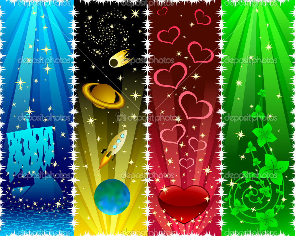 Vertical banners with stars