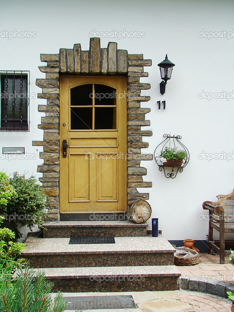 Street door of the house with colours