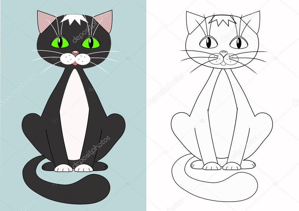 Cartoon Kat. Färbung — Stockvektor © M_A_R_G_O #2188901