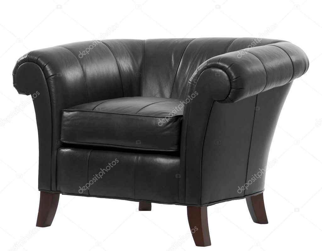 Expensive leather arm chair with clipping path