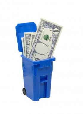 Recycle bin full of no money