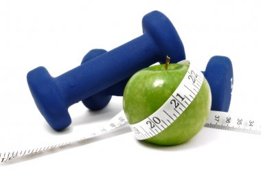 Blue Weights, Apple & Tape Measure