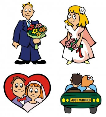 Set of wedding pictures, vector illustration stock vector