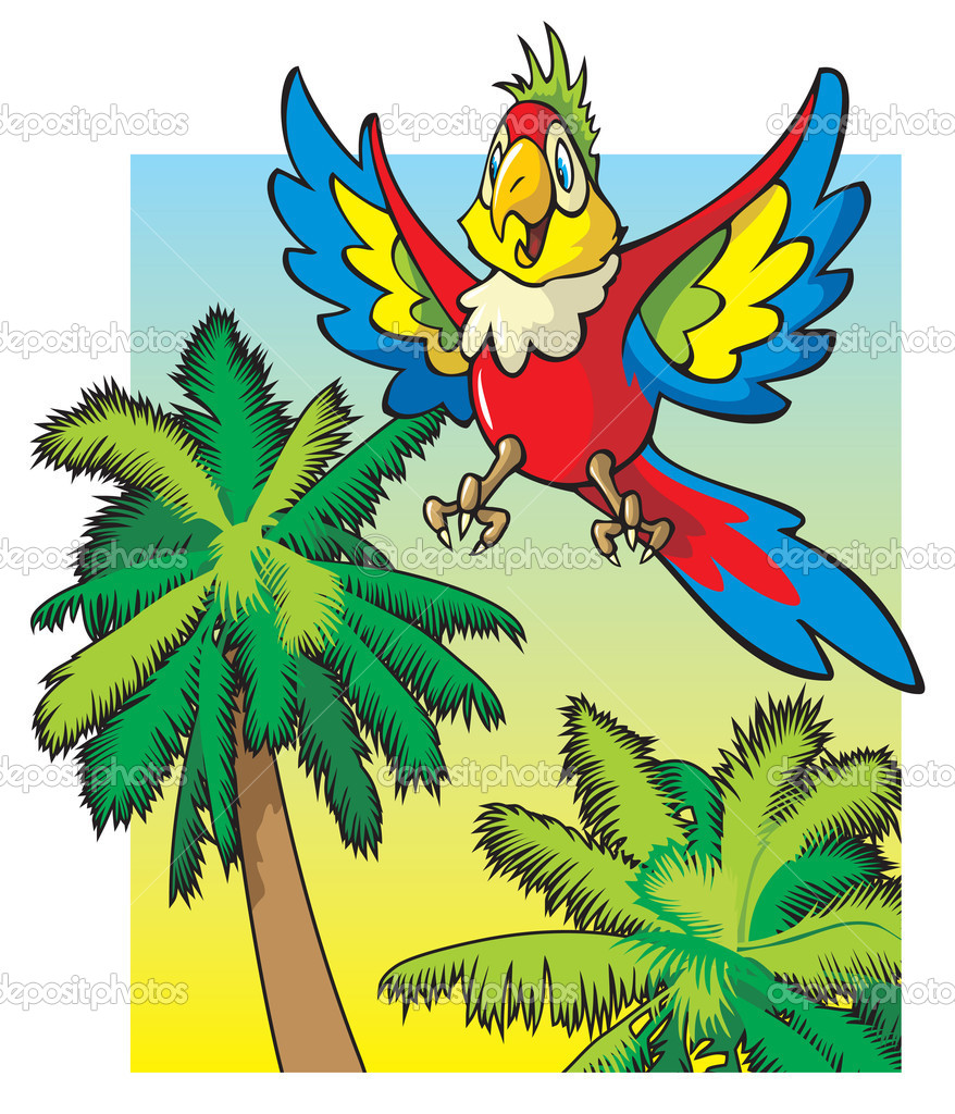 Parrot flying above the palm trees — Stock Vector © ensiferum #2136369