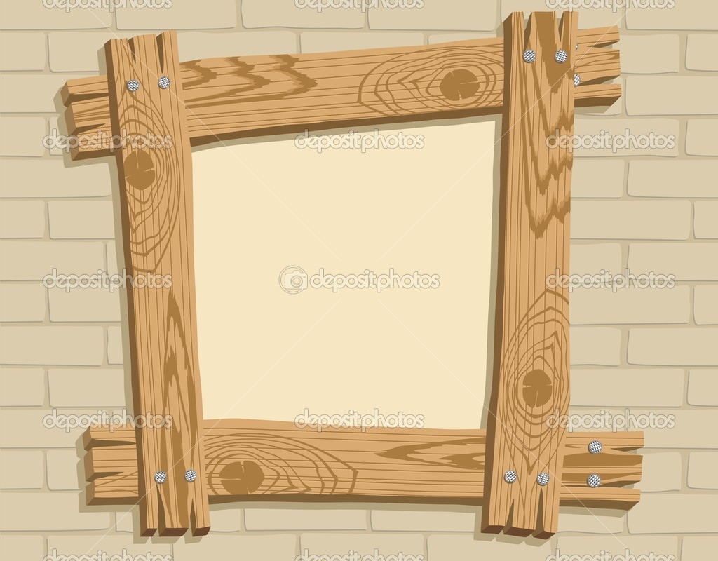Wood frames set free vector - Wooden Frame Against A Backdrop Of Brick Royalty Free Stock Illustrations