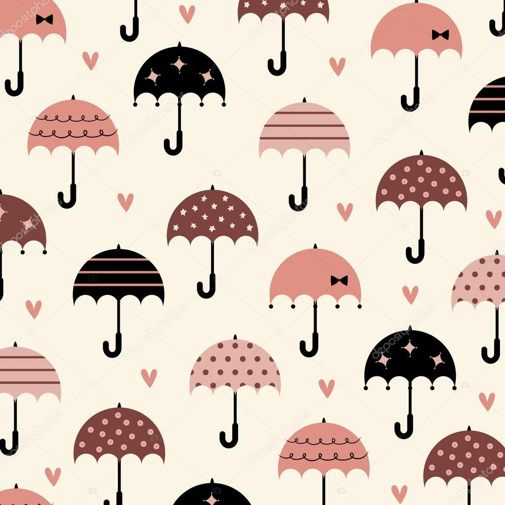Umbrella With Love Wallpaper Design Stock Vector