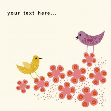 Bird and flower card design