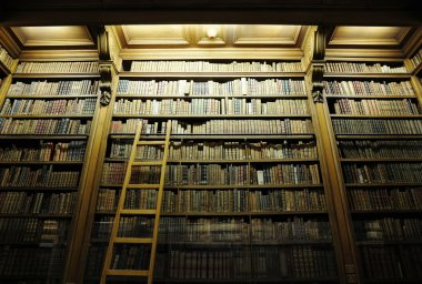 Old library with ancient bibles