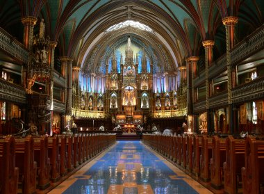 View interior of the Notre-Dame Basilica, Montreal stock vector