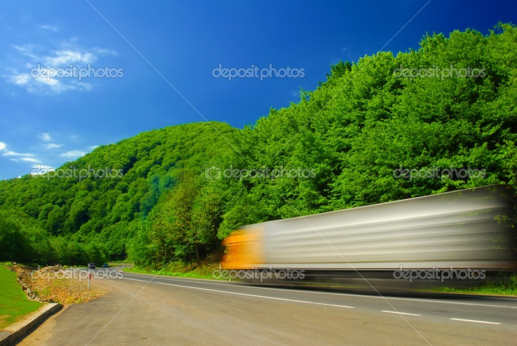 Heavy truck, motion blur